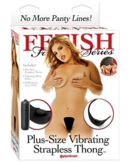 FETISH FANTASY SERIES PLUS SIZE VIBRATING STRAPLESS THONG-BLACK